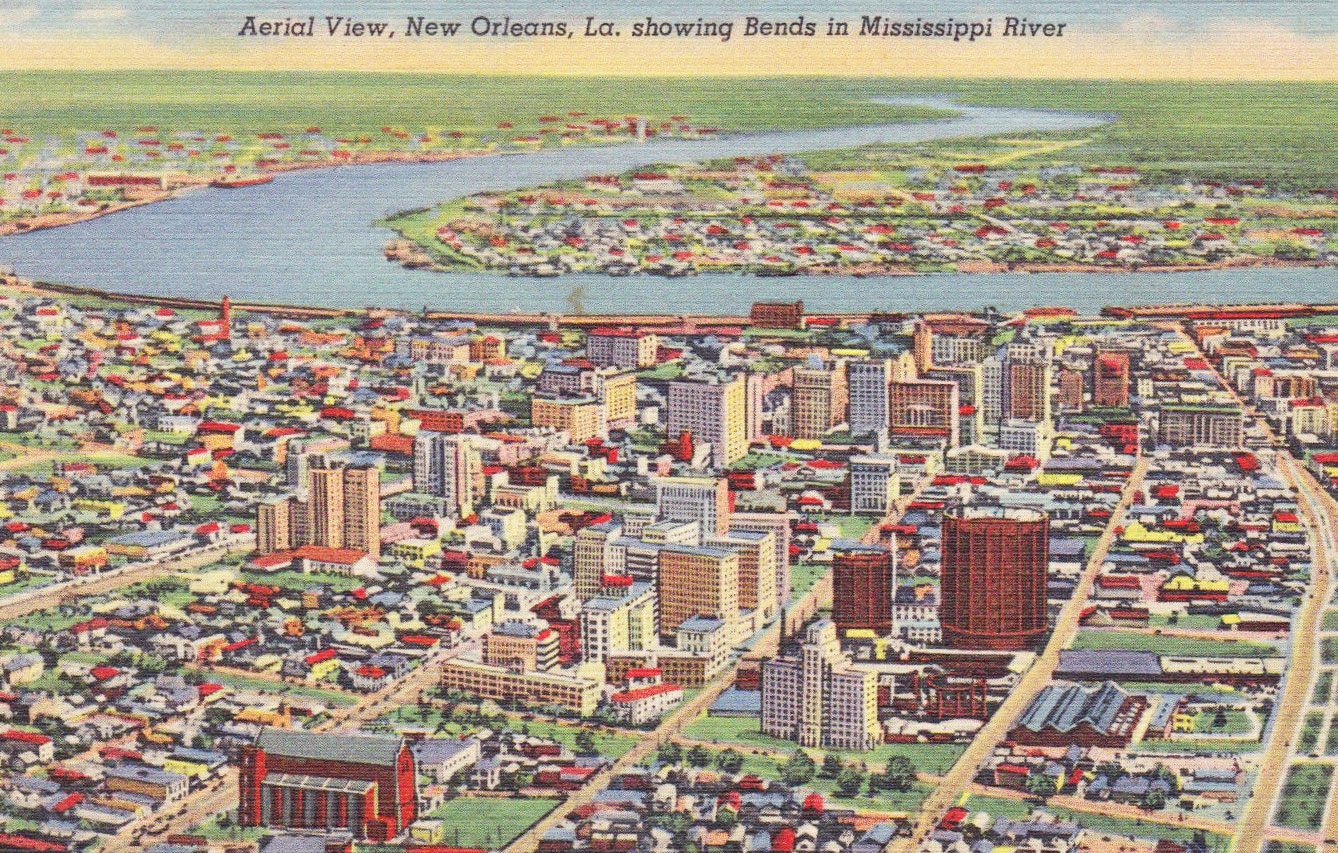 1940's Aerial Postcard of New Orleans and the Mississippi River and Unadulterated Wetlands.