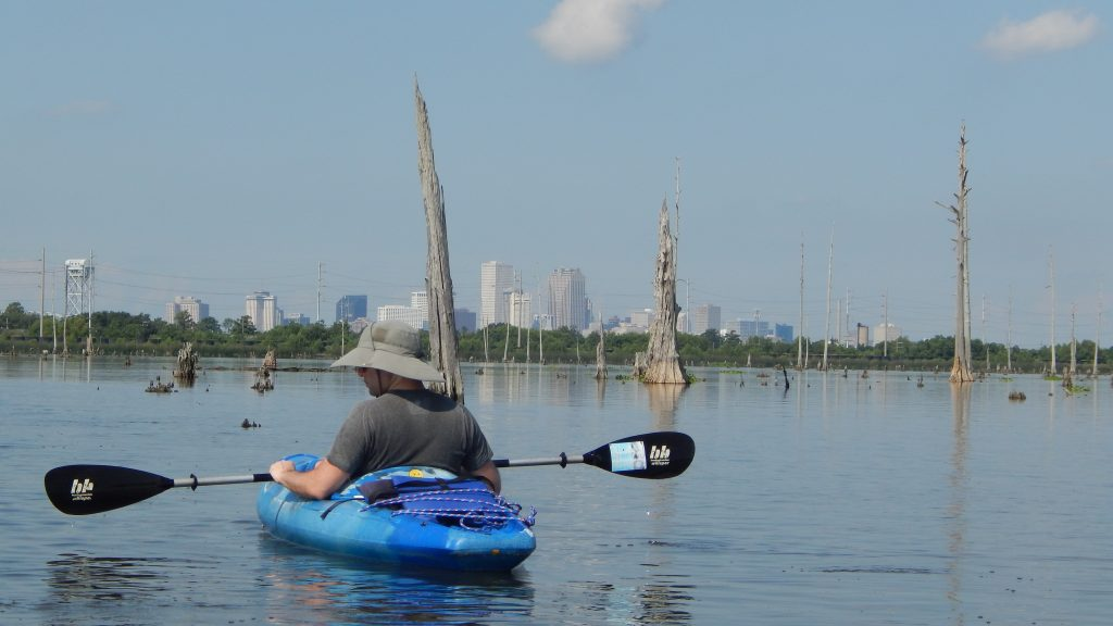 Kayaker at the Bayou Bienvenue Wetland Triangle